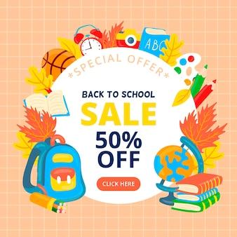Baner sprzedaży z powrotem do szkoły
