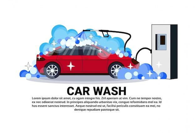 Baner stacji mycia samochodów z pojazdem do czyszczenia usług
