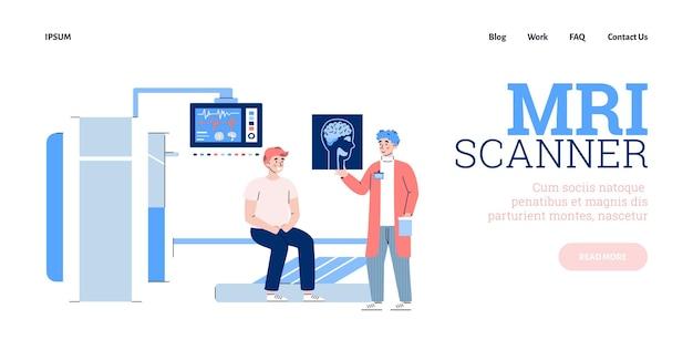 Baner strony internetowej badań mri z ilustracją wektorową płaskiego pacjenta i lekarza
