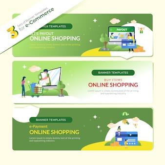 Baner strony internetowej dla e-commerce w 3 zestawach pakietów