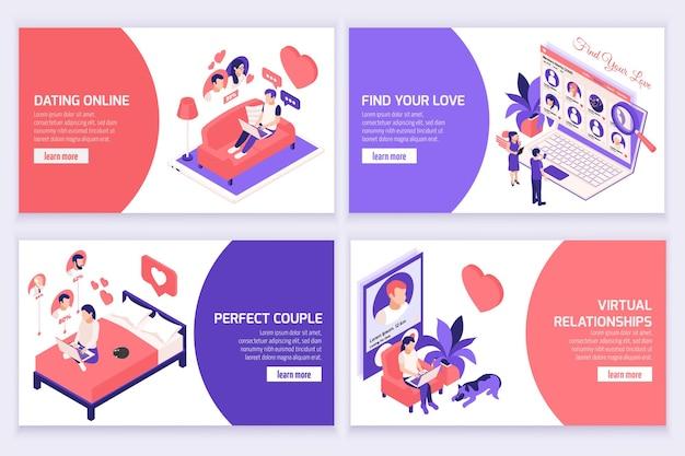 Baner strony internetowej z izometrycznymi ilustracjami randkowymi