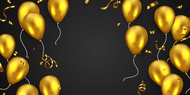 Baner strony ramki uroczystości ze złotymi balonami.