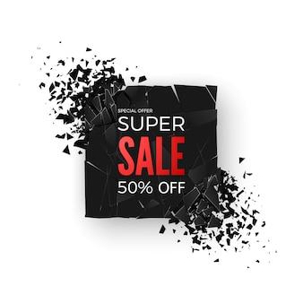 Baner super wyprzedaż - oferta specjalna 50%. układ z elementami abstrakcyjnego efektu wybuchu. pojęcie. ilustracja
