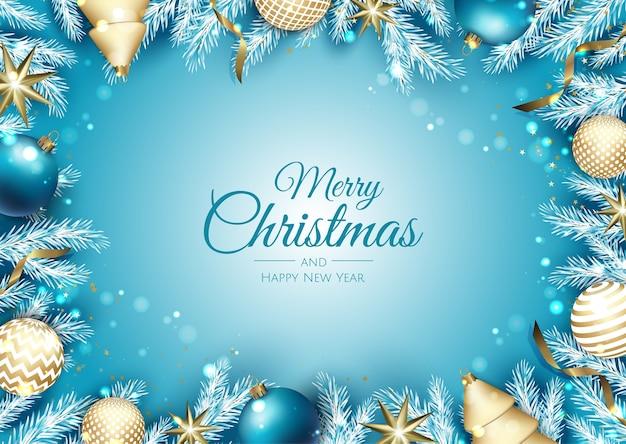 Baner świąteczny. tło xmas z pudełko prezenty, płatek śniegu i konfetti. poziomy plakat świąteczny, kartki z życzeniami, nagłówki, strona internetowa.