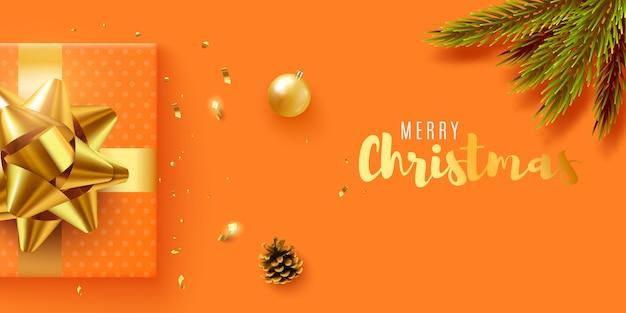 Baner świąteczny. z realistycznym pudełkiem na prezenty, brokatowym złotym konfetti. poziomy
