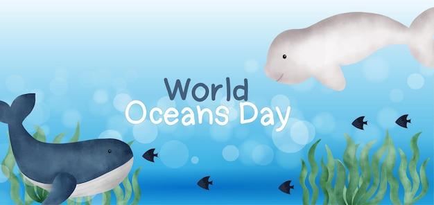 Baner światowego dnia oceanów z uroczym delfinem w stylu przypominającym akwarele.