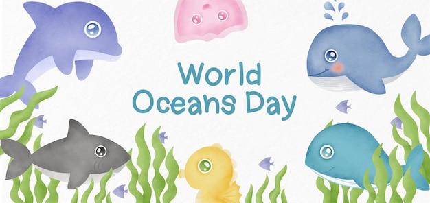 Baner światowego dnia oceanów ze zwierzętami morskimi w stylu przypominającym akwarele