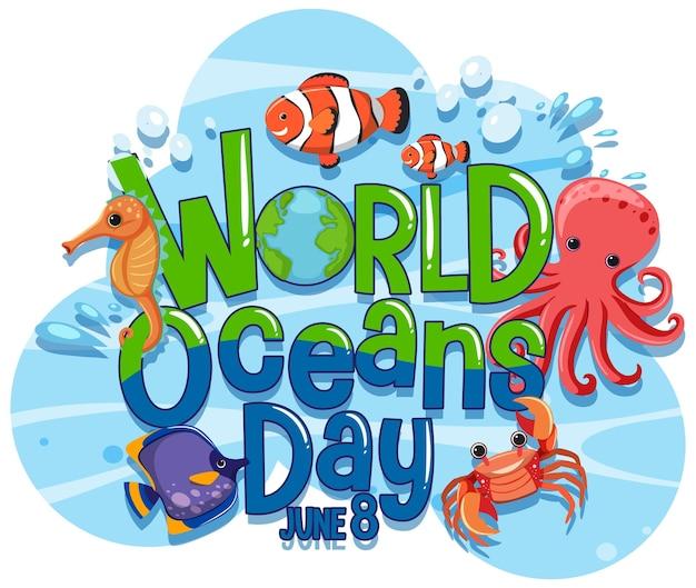 Baner światowego dnia oceanu z postacią z kreskówek zwierząt morskich