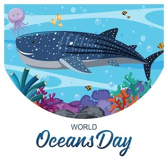 Baner światowego dnia oceanu z wielkim wielorybem i innymi zwierzętami morskimi