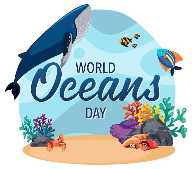 Baner światowego dnia oceanu z wieloma różnymi zwierzętami morskimi