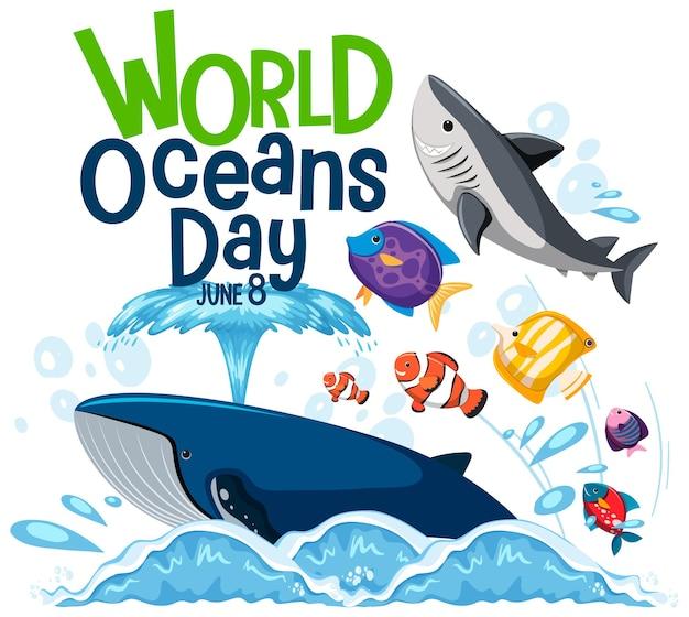 Baner światowego Dnia Oceanu Z Wieloma Różnymi Zwierzętami Morskimi Premium Wektorów