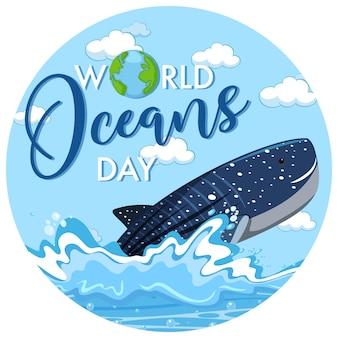Baner światowego dnia oceanu z wielorybem w oceanie na białym tle