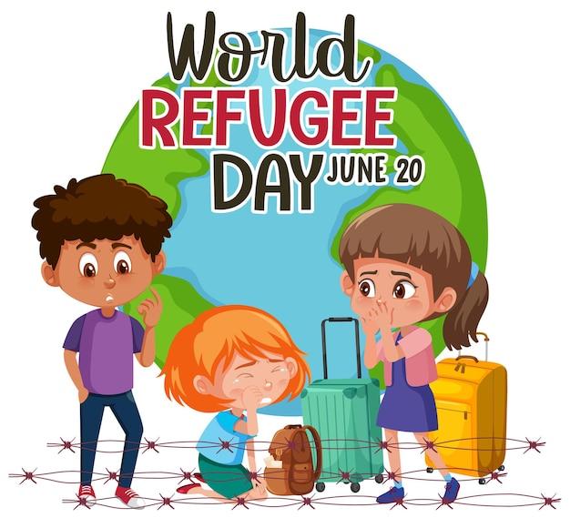Baner światowego dnia uchodźcy z uchodźcami na tle kuli ziemskiej