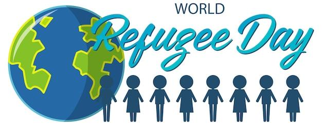 Baner światowego dnia uchodźcy ze znakiem ludzi i kulą ziemską