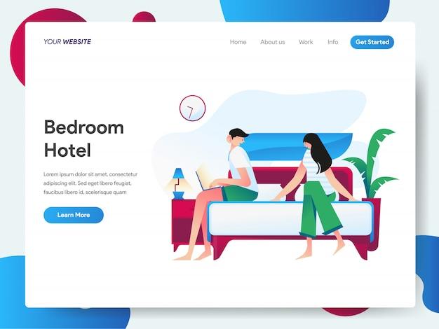 Baner sypialni hotelowej na stronę docelową