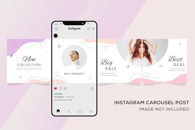 Baner szablonu karuzeli instagram na sprzedaż mody premium