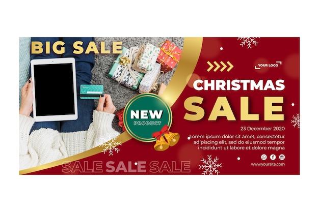 Baner szablonu reklamy świątecznej sprzedaży