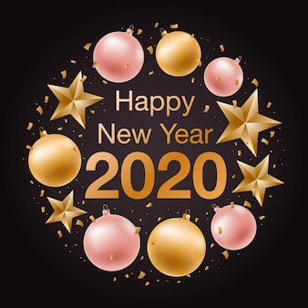 Baner szczęśliwego nowego roku 2020.