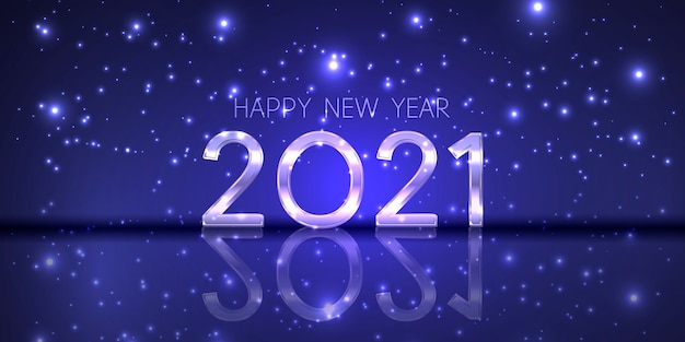 Baner szczęśliwego nowego roku z nowoczesnym musującym designem