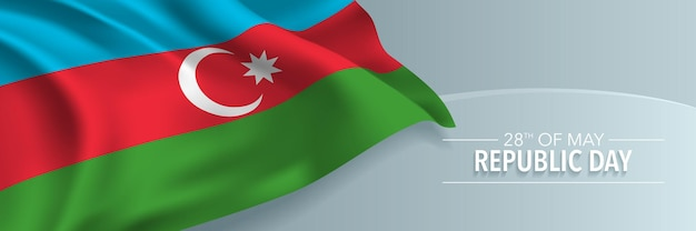 Baner szczęśliwy dzień republiki azerbejdżanu, kartka z życzeniami.