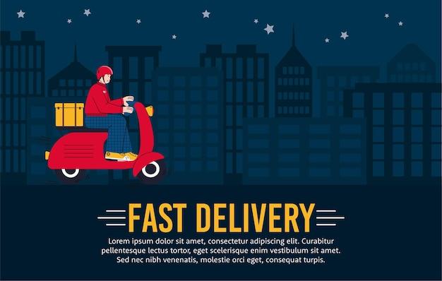 Baner szybkiej dostawy w nocy z kurierem jadącym na skuterze