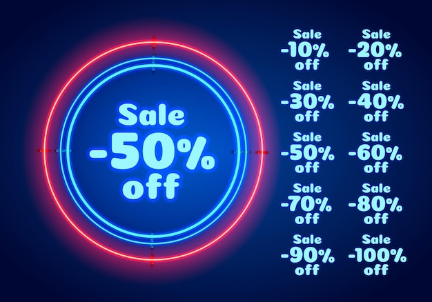 Baner tekstowy neon 50 sprzedaż. znak nocy. ilustracja wektorowa