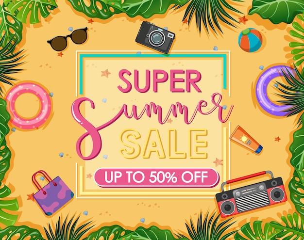Baner tekstowy super summer sale z przedmiotami plażowymi
