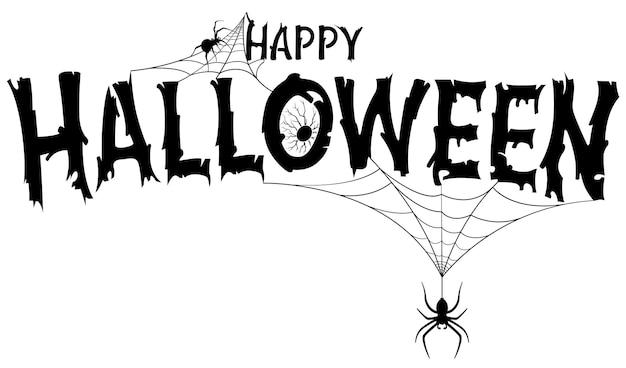 Baner tekstowy wesołego halloween z pająkami w sieci