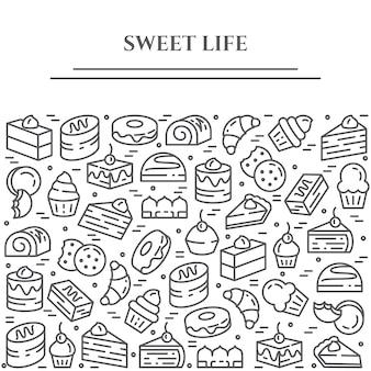 Baner tematu ciast i ciastek