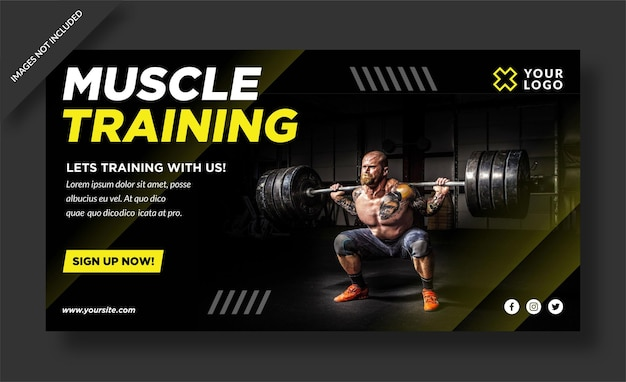 Baner treningu mięśni i post w mediach społecznościowych
