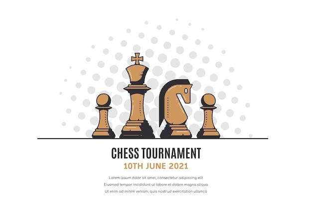 Baner turnieju szachowego z figurami szachowymi na białym tle