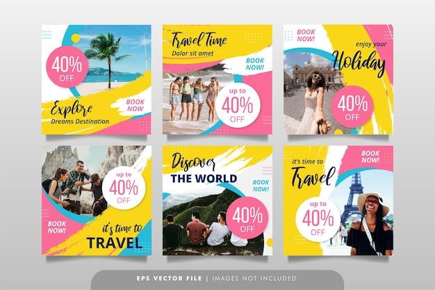 Baner turystyczny lub szablon postu w mediach społecznościowych