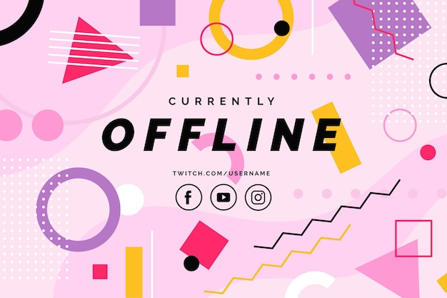 Baner twitch offline w stylu memphis