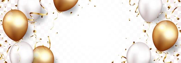 Baner uroczystości z złotym konfetti i balony na białym tle