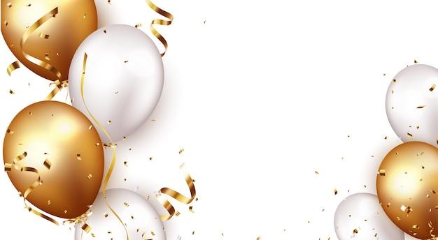 Baner uroczystości ze złotym konfetti i balonami