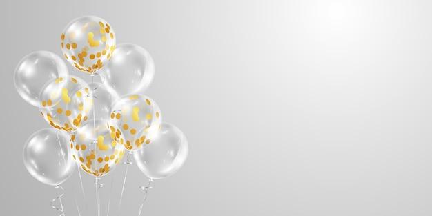 Baner uroczystości ze złotymi balonami jasne białe przezroczyste tło.