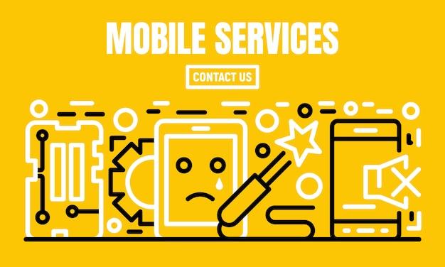 Baner usług mobilnych, styl konturu