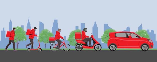 Baner usługi dostawy śledzenie zamówienia online dostawa do domu i biura w mieście