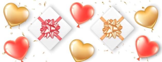 Baner w czerwono-złote balony w kształcie serca. pudełka na prezenty z kokardkami i cukierkami. romantyczna realistyczna ilustracja na walentynki