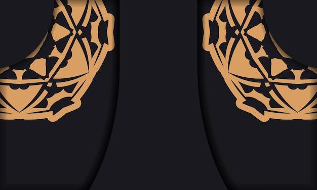 Baner w kolorze czarnym z luksusowym pomarańczowym wzorem i miejscem na logo lub tekst