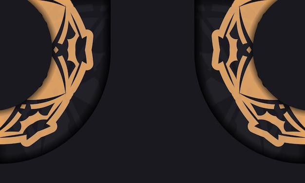 Baner w kolorze czarnym z luksusowym pomarańczowym wzorem i miejscem na twoje logo