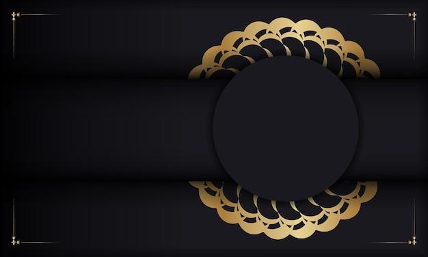 Baner w kolorze czarnym ze złotym indyjskim wzorem