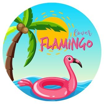 Baner w kształcie koła z pierścieniem do pływania flamingiem unoszącym się na morzu na białym tle