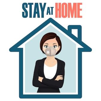 Baner w mediach społecznościowych stay at home, samodzielna kwarantanna, zapobieganie koronawirusowi, samoizolacja, epidemia covid-19. kobieta w masce w domu. wektor
