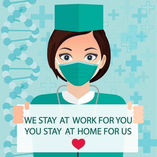 Baner w mediach społecznościowych stay at home, samodzielna kwarantanna, zapobieganie koronawirusowi, samoizolacja, epidemia covid-19. lekarz w masce w domu. wektor