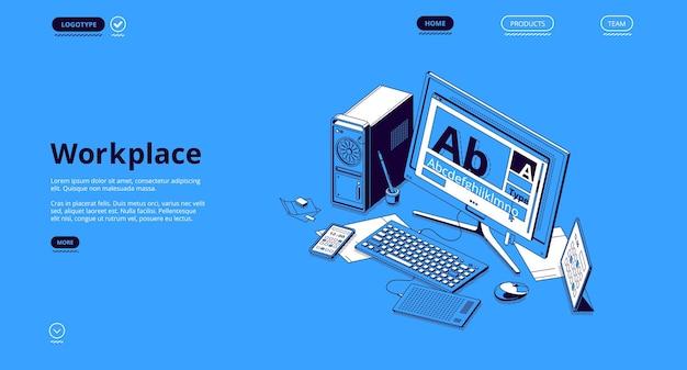 Baner w miejscu pracy. koncepcja organizacji miejsca pracy, pracy na odległość, biura w domu lub freelancera.