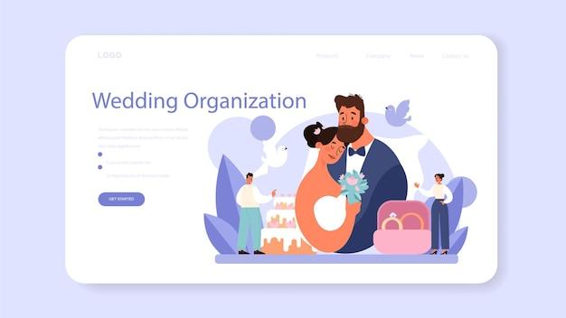 Baner weselny lub strona docelowa. płaska ilustracja wektorowa