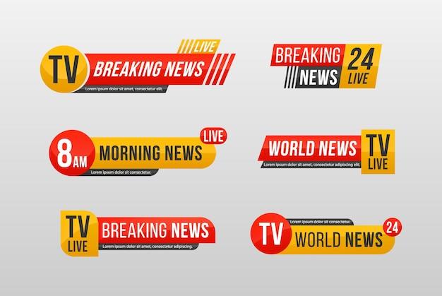 Baner wiadomości do transmisji strumieniowej w telewizji