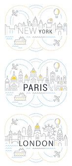 Baner witryny i strona docelowa paryż, londyn, nowy jork