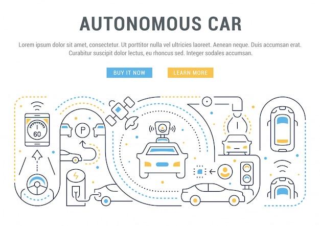 Baner witryny lub strona docelowa samochodu autonomicznego.